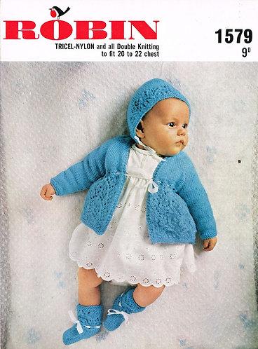 1579R baby matinee coat set vintage knitting pattern  PDF Download