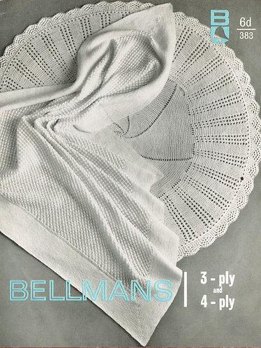 383Bell baby shawl vintage knitting pattern PDF