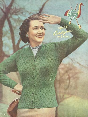 166 ladies cardigan vintage knitting pattern PDF Download