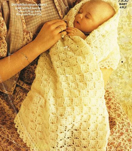 7930P baby shawl vintage knitting pattern  PDF Download