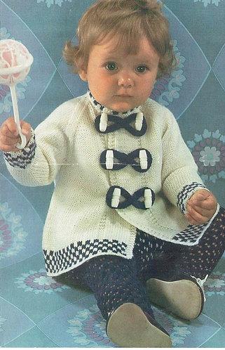 8437E baby coat vintage knitting pattern PDF Download