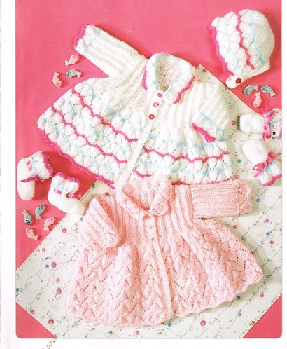 7188T baby matinee coats vintage knitting pattern  PDF Download