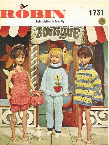 1731R fashion doll clothes vintage knitting pattern  PDF Download