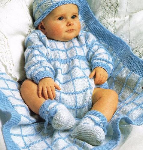 2276H baby romper abd blanket vintage knitting pattern  PDF Download