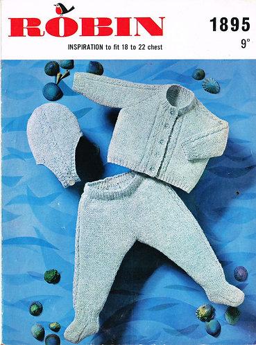 1895R baby pram suit vintage knitting pattern  PDF Download