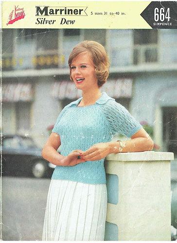 664 ladies summer top Vintage knitting pattern  PDF Download