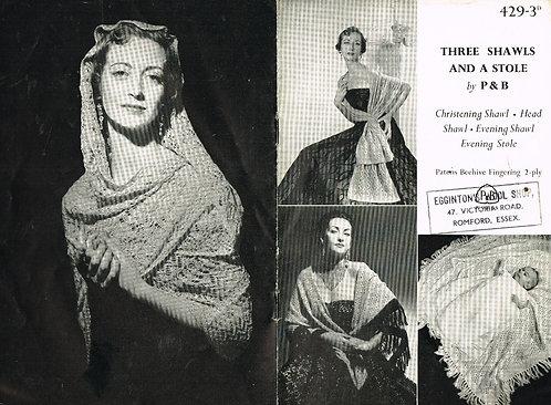 429P ladies shawls vintage knitting pattern  PDF Download