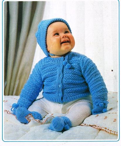 140K baby cardigan set vintage knitting pattern  PDF Download