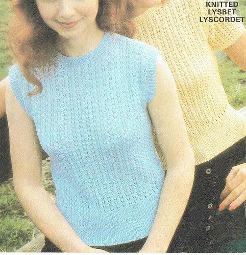 6126T ladies summer top vintage knitting pattern  PDF Download