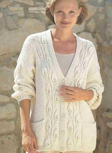 4375 ladies aran cardigan Vintage knitting pattern  PDF Download