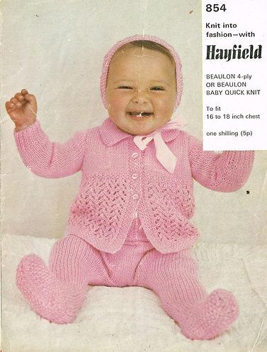 854H baby pram suit vintage knitting pattern  PDF Download