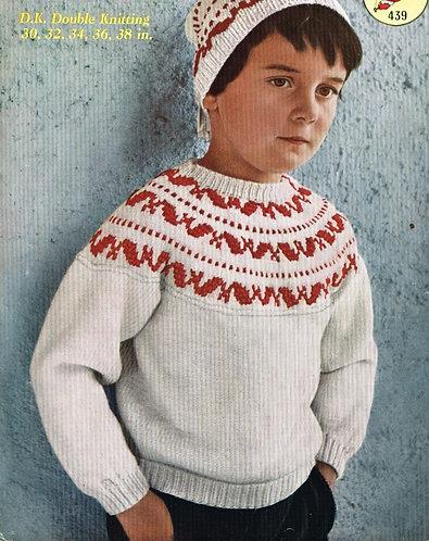 439M childrens jumper set vintage knitting pattern PDF Download