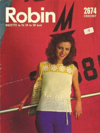2674R ladies summer top vintage crochet pattern  PDF Download