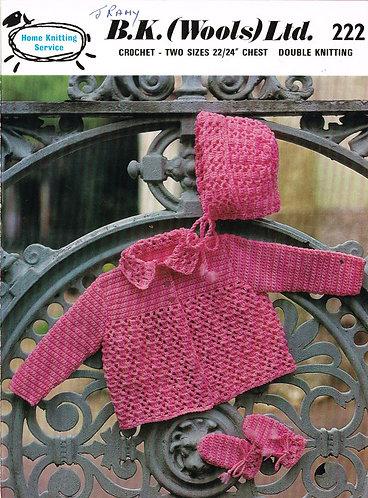 B K Wools 222 baby vintage crochet pattern PDF
