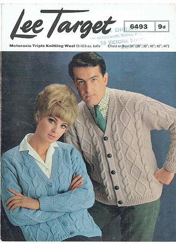 6493Lt ladies mens cardigan vintage knitting pattern  PDF download