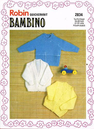2834R baby cardigan jumpers vintage knitting pattern  PDF Download