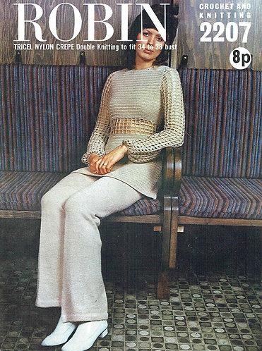2207R ladies jumper trouser suit vintage knitting & Croche pattern  PDF Download