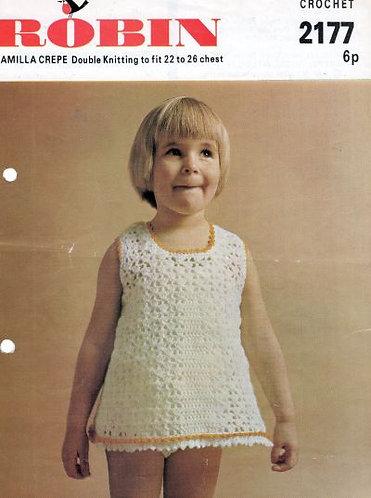 2177R girls dress vintage crochet pattern  PDF Download