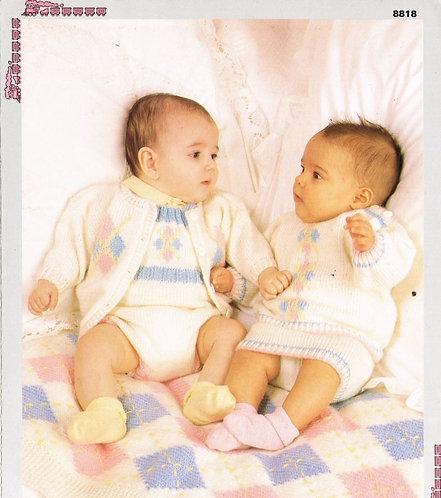 8818P baby romper suit set vintage knitting pattern  PDF Download