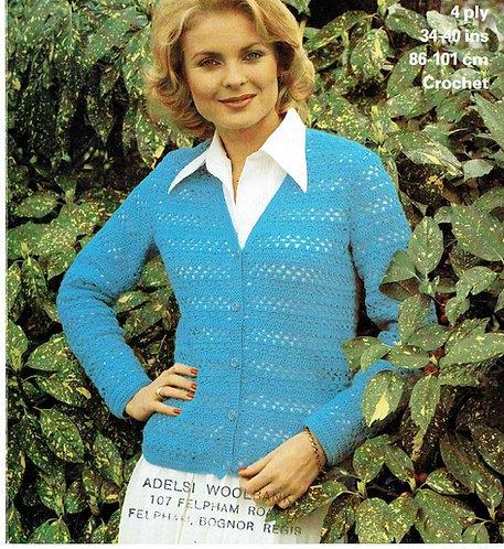 1785 ladies cardigan vintage crochet pattern PDF Download