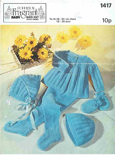 1417P baby matinee coat set vintage knitting pattern  PDF Download