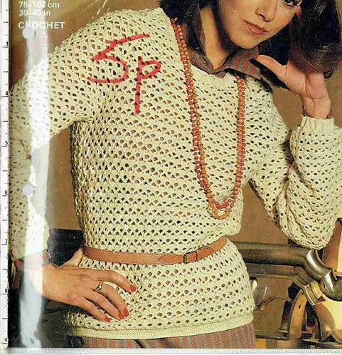 4882 ladies jumper Vintage crochet pattern  PDF Download