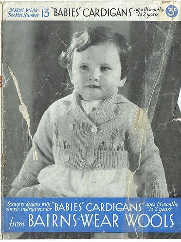 Bairnswear 13 baby vintage knitting pattern PDF