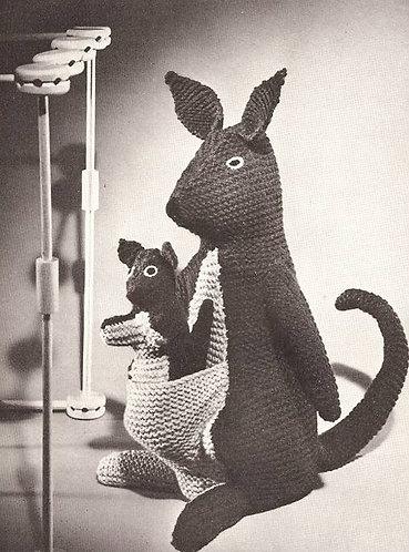 American kangaroo and joey toy vintage knitting pattern  PDF Download