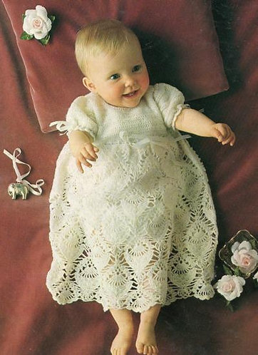 Baby pineapple lace christening dress vintage crochet pattern  PDF Download