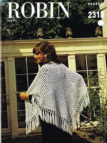 2318R Ladies triangular shawl vintage crochet pattern  PDF Download