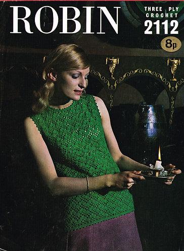 2112R ladies summer top vintage crochet pattern  PDF Download