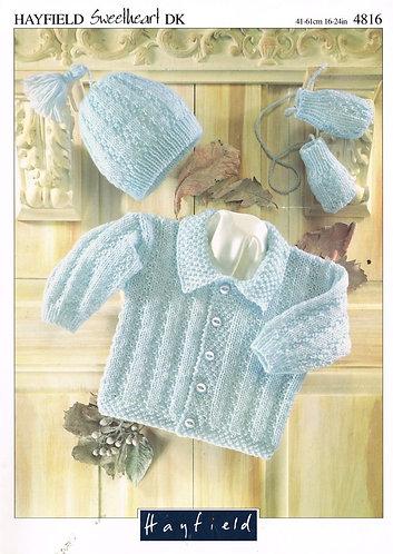 4816H baby cardigan set vintage knitting pattern  PDF Download