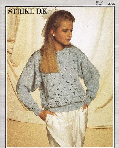 2086P ladies jumper Vintage knitting pattern  PDF Download
