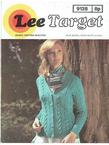 9128Lt ladies cable cardigan vintage knitting pattern  PDF Download