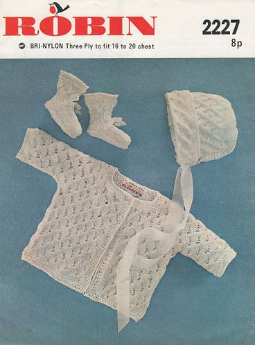 2227R baby matinee coat set vintage knitting pattern  PDF Download