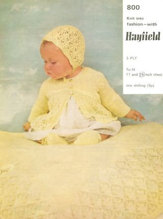800H baby matinee coat shawl vintage knitting pattern  PDF Download