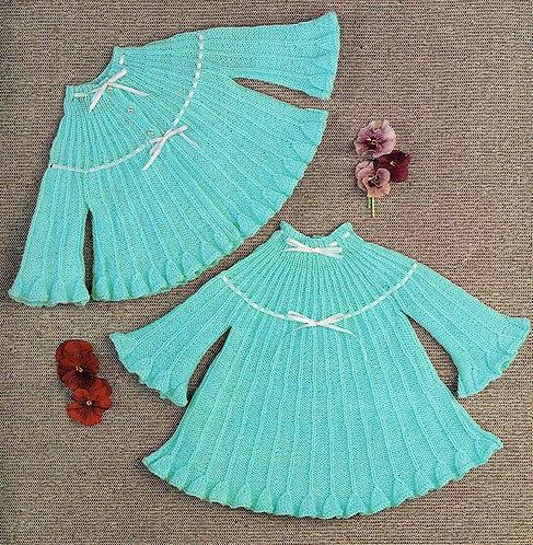 8667E baby matinee coat dress vintage knitting pattern  PDF Download