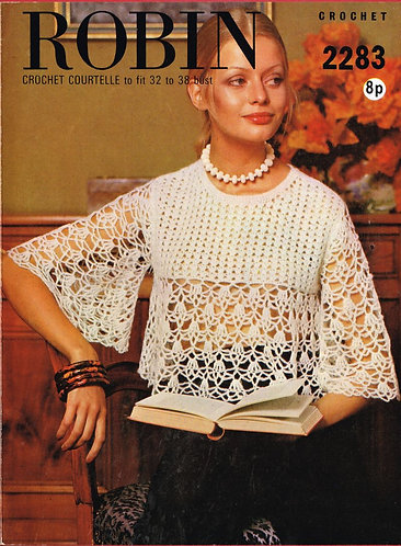 2283R ladies jumper vintage crochet pattern  PDF Download