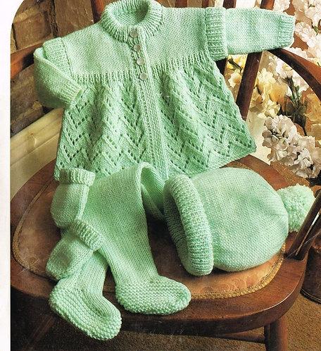 582T baby pram suit vintage knitting pattern  PDF Download