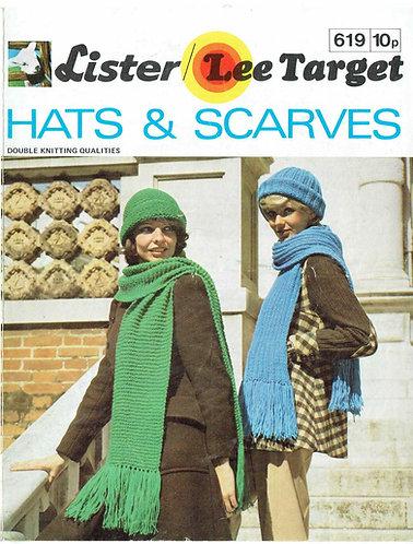 619L ladies hat scarf sets vintage knitting pattern  PDF Download