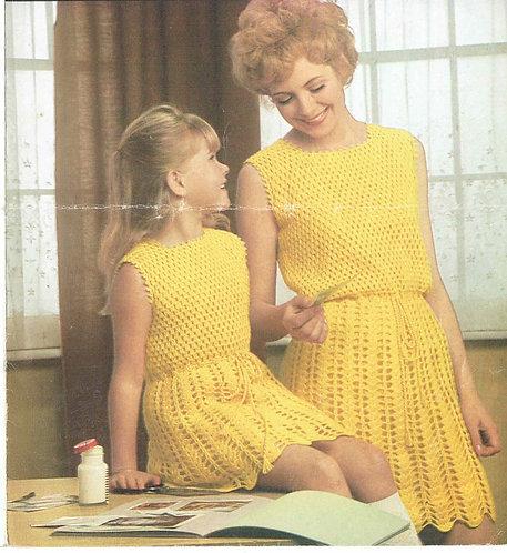 607H mother daughter dresses Vintage crochet pattern  PDF Download