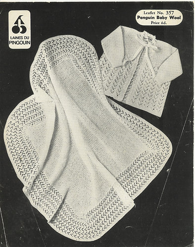 357P baby matinee coat and shawl set vintage knitting pattern  PDF Download