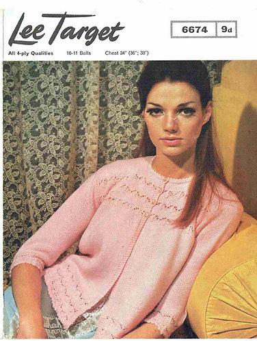 6674Lt ladies bedjacket vintage knitting pattern  PDF Download
