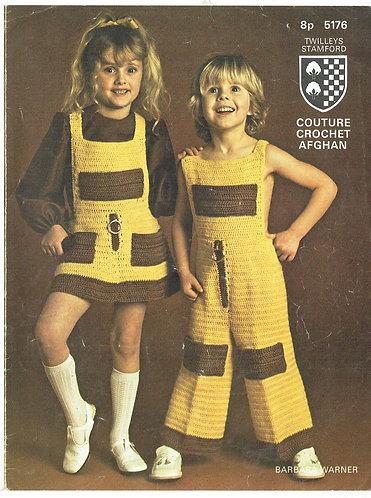 5176T girls dress and trouser set vintage crochet pattern  PDF Download