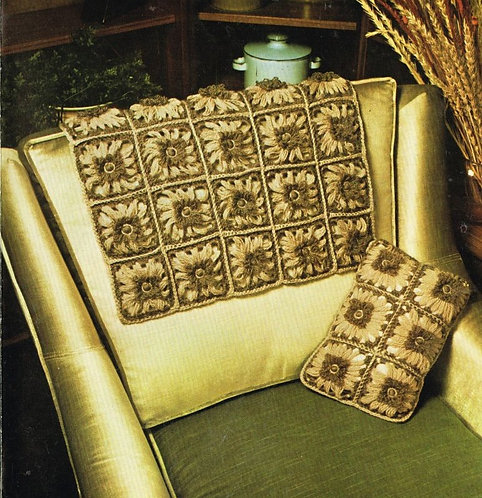 5980T flower loom cushion chair back set vintage knitting pattern  PDF Download