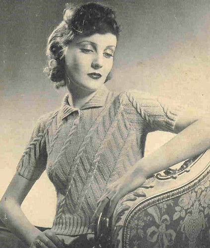 568 ladies jumper Vintage knitting pattern  PDF Download