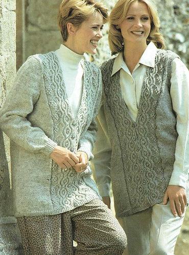 4317H ladies waistcoat and cardigan Vintage knititng pattern  PDF Download