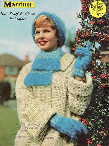 617 ladies hat set Vintage knitting pattern  PDF Download