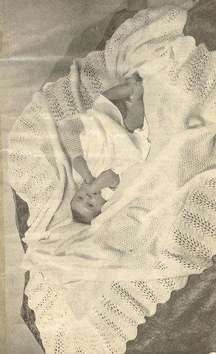 Baby shawl vintage knitting pattern PDF