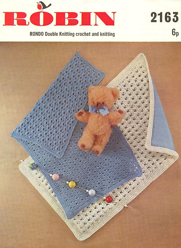 2163R baby pram blankets vintage knitting crochet pattern PDF Download
